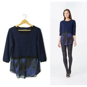 Elie Tahari layered sweater top cobalt blue black